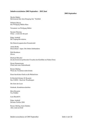 Inhaltsverzeichnisse  September  2003   Juni 2015